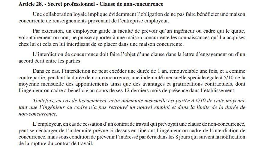 Clause de non concurrence dissertation